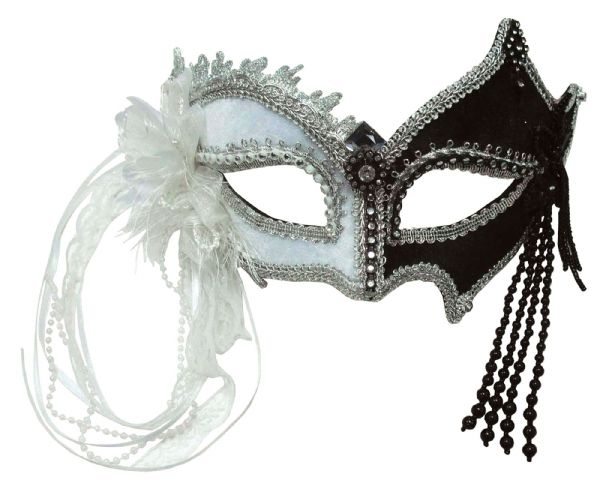 Black / White + Tassels Eyemask Masquerade Ball Eye-Mask Eye Mask Fancy Dress